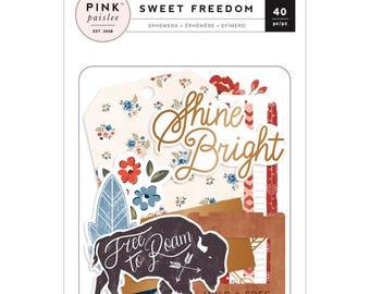 Sweet Freedom Die Cut Ephemera - Pink Paislee