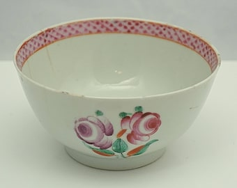 NEW HALL C18th HYBRID paste Staffordshire porcelain hand painted floral Slop Bowl A/F