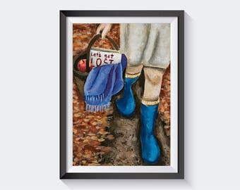 Fall, Autumn, Art Print, Walk in Autumn, Room Decor, Wall Art, A4, Leaves, Orange, Red, Picnic Basket, Path, Girls room, Outdoors, Explore