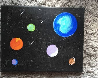 Planet painting on canvas 11X14