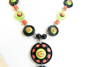 """Designer """"Twist"""", single model, made by hand, wood, glass, metal necklace"""