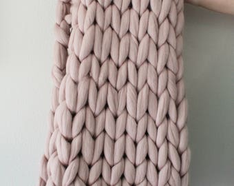 48x60 merino wool thick knit blanket medium for Manta punto gordo