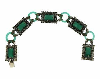 1920s Green Glass and Silver Filigree Vintage Bracelet