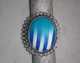 Adjustable ring cabochon polymer clay