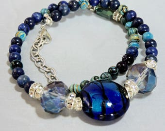 Gemstone bracelet, handmade jewelry, Lapis lazuli and malachite gemstone beads, gifts for her, Valentines gift her, womens healing jewelry