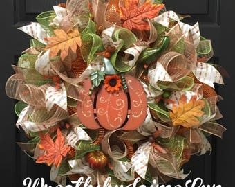 Pumpkin wreath, fall wreath, autumn wreath, autumn decor, fall front door decor, pumpkin decor, front door wreath for fall