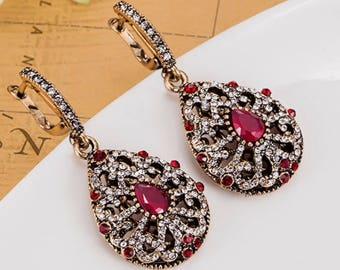 Turkish jewelry vintage style red earrings