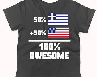 50 Percent Greek 50 Percent American 100% Awesome Funny Flag Infant / Toddler T-Shirt