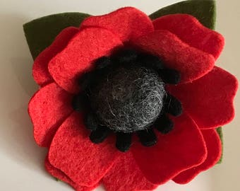 Large poppy brooch hair clip hair accessory corsage buttonhole