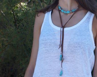 Turquoise long necklace,  long boho necklace,  Summer jewelry, Beaded necklace, Turquoise necklace Free shipping