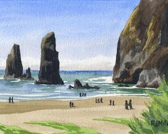 Cannon Beach Oregon art print, Haystack Rock watercolor painting, Oregon coast artwork, coastal beach decor, Pacific Northwest ocean art