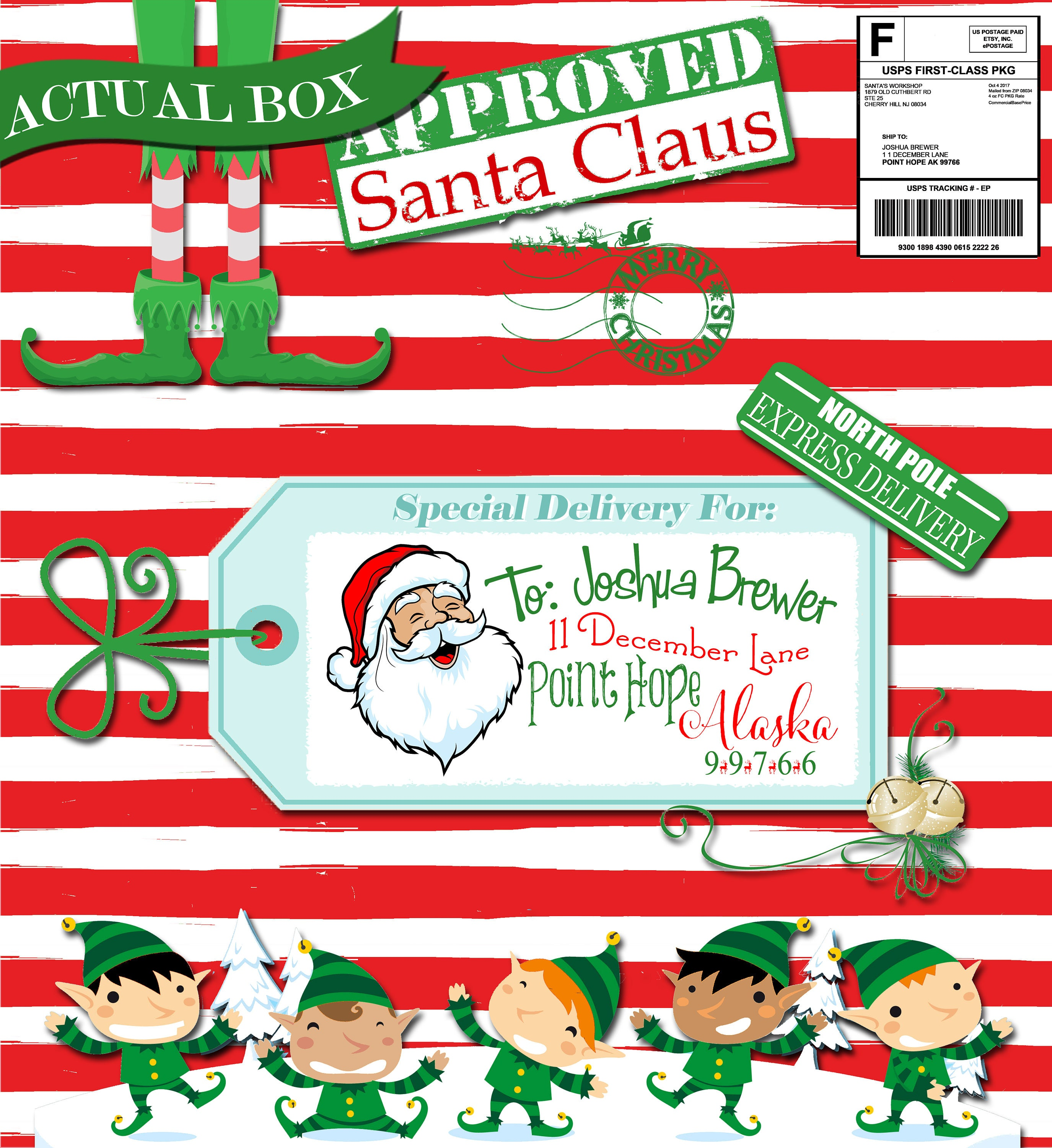 Christmas package from santa claus letter from santa nice list christmas package from santa claus letter from santa nice list certificate elf gift xflitez Gallery