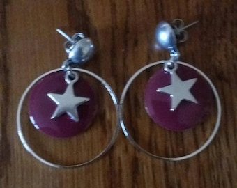 stars and sequin earrings raspberry