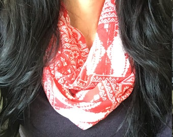 Bohemian Print in Navy or Red (Infinity Scarf)