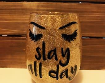 Glittered glass make-up brush or Lipsense holder! Slay All Day