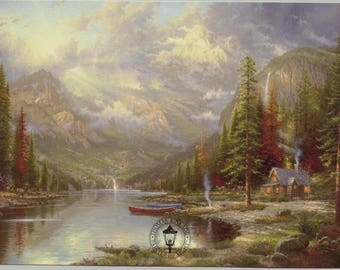 Thomas Kinkade ~ MOUNTAIN MAJESTY ~ Framed Ltd Edition Canvas 25x34 - Oil Highlt