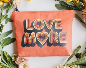 Love More Clutch, leather bag soft leather clutch, leather make up bag, love more clutch, 70s inspired clutch, retro inspired bag