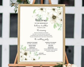 Wedding Ceremony Sign, Wedding Program Sign, Printable Wedding Ceremony, Personalize Sign, Floral Watercolor, Watercolor Anemone #A001