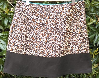 A Line Mini Skirt -  with chocolate border band / fully lined / mini length