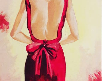 The Lady in Red painting