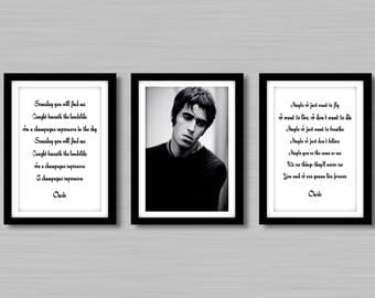 Liam Gallagher - Oasis Song Quotes And Photo prints - Black Or White - Size A4/A3 -  Unframed