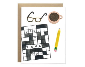 Dad Crossword / Father's Day Card, I Love You Dad Card, Dad Card, Birthday Card for Dad, Gift for Dad, Crossword Puzzle Card, Hip Dad