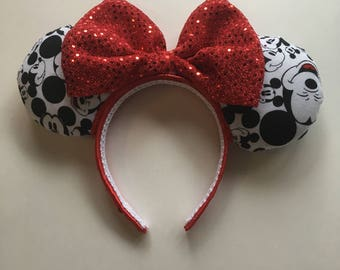 Classic Mickey Inspired Black/White Red Headband Mouse Ears