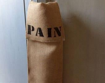 burlap and white linen bread bag