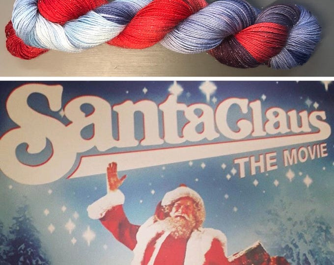 100g Superwash Merino / Nylon / Silver Stellina Sparkle Sock Yarn 4 ply, fingering, hand dyed, red, blue, navy, 'Santa Claus the Movie'
