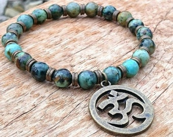 Handmade African Turquoise Beaded Om Aum Spiritual Bracelet with Gift Pouch, Turquoise Bracelet, Om Bracelet, Yoga Bracelet, Gift