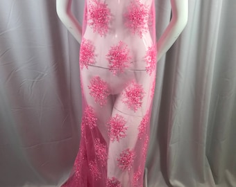 Lace Fabric - Candy Pink Gaviota Design Embroider Beaded Mesh Dress Wedding Decoration Bridal Veil Nightgown By The Yard