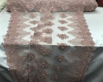 Bridal Beaded - Lace Fabric Blush Embroidered Mesh Dress Flower-Floral Wedding Veil By The Yard
