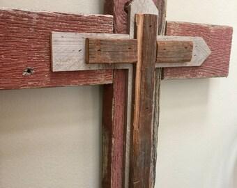 Reclaimed barn wood cross wall hanging