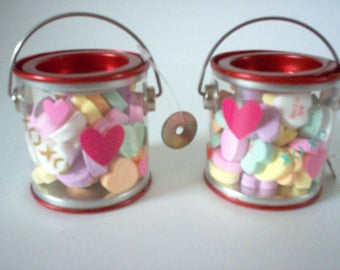 Valentine Favor Pails with Conversation Hearts FREE SHIPPING