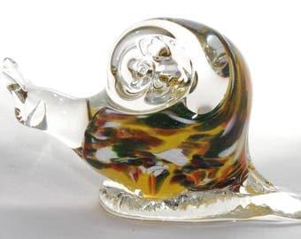 Blown Glass Yellow Snail Figurine