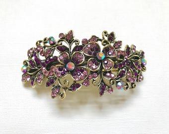 Sale! Vintage Purple Hair Accessory, Rhinestone Hair clip, Bridesmaids hair accessory, purple prom hair barrette, purple flower leaf hair cl