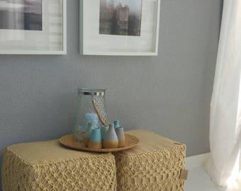 Gift handmade jute pouf with Macramé decor