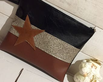 vintage Star leather clutch and glittery bronze