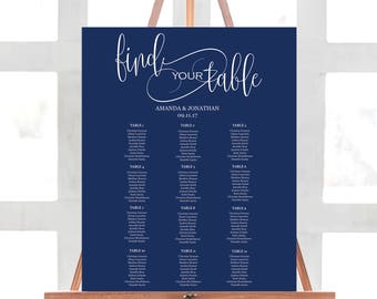 Alphabetical Seating Chart Template - Printable Wedding Seating Chart - Navy Wedding Seating Chart - Downloadable wedding #WDH31Navy