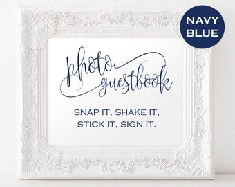 Photo Wedding Guestbook - Photo Guestbook Sign - Reception sign - Navy Wedding Sign - Downloadable wedding #WDH303_16