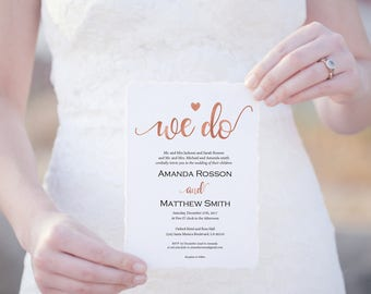 Rose Gold Wedding Invitation - We Do Wedding Invitation - Wedding Invitation Template - Rose Gold Wedding -Downloadable wedding #WDH8R2293