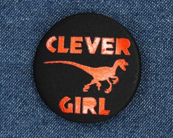 "1.5"" Clever Girl Fabric Button – Clever Girl Button – Clever Girl Pin – Velociraptor Button –Velociraptor Pin –Dinosaur Pin –Dinosaur Button"