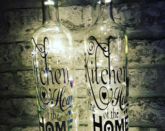 Light Up Wine Bottle With Kitchen Heart Home Quote Various Colours. Message on a bottle, fairy lights bottle, wine bottle