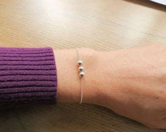 Dainty Bracelet, Silver Bracelet, Beaded Bracelet, Charm Bracelet, Thin Bracelet, Delicate Bracelet, Gift under 50, Bridal, Girlfriend Gift