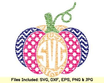 Halloween svg files for cricut silhouette, thanksgiving svg Polka dot Chevron Swirl pumpkin monogram svg, vinyl decal clipart dxf cut files