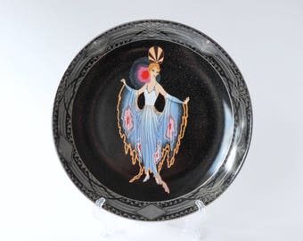 Vintage plates. Franklin Mint House of Erte decorative Twilight plate. 1920. Limited Edition House of Erte Twilight. Royal Doulton.