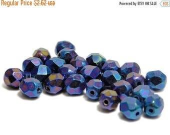 CLEARANCE Fire Polished Beads - 6mm Beads - Blue Beads - Round Beads - Czech Glass Beads - Czech Beads - 25pcs (B811)