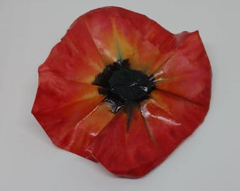 Large Red Origami Poppy Accessory