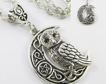Wicca Talisman Crescent Moon Charm Sweater Necklace 75cm Select Owl or Wolf