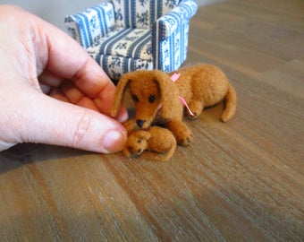 Miniature mother dog and child -  artist puppy, miniature dog, micro dog, dollhouse dog, tiny puppy, Blythe, art dog,